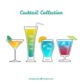 Bunter satz hand gezeichnete cocktails