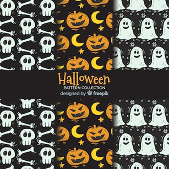 Bunter satz hand gezeichnete halloween-muster