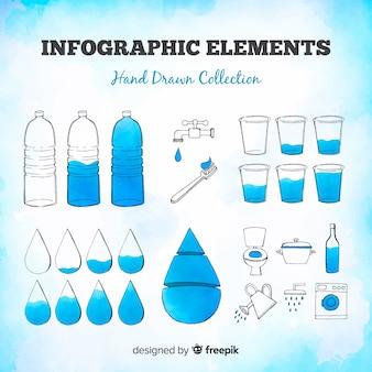 Bunter satz hand gezeichnete infographics elemente