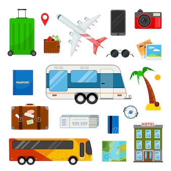 Bunter satz ikonen für reise in der flachen art auf weiß