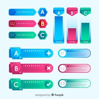Bunter Satz infographic Elemente mit Steigungsart