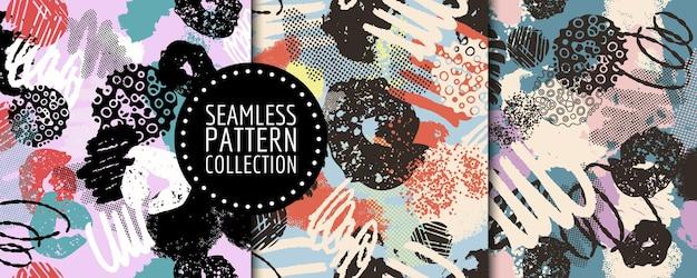 Bunter satz nahtloser muster mit verschiedenen formen und texturen