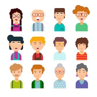 Bunter satz von männlichen und weiblichen gesichtern im flachen design. illustration. sammlung von niedlichen avataren