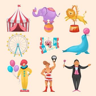 Bunter satz von verschiedenen zirkuscharakteren, die tiere amüsieren, reitet ereigniskarten und gestrippte marguee-symbole