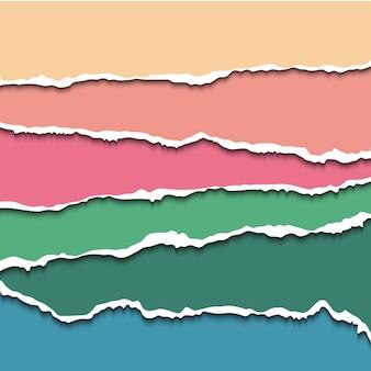 Bunter satz von zerrissenen papierfahnen für website. zerrissenes papier mit rauen kanten für scrapbooking und basteldesign.