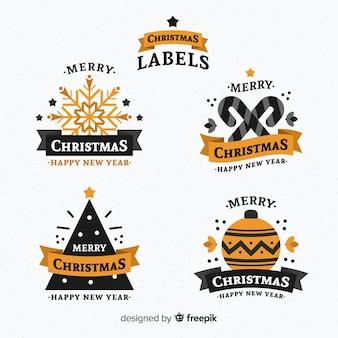 Bunter satz weihnachtsaufkleber mit flachem design