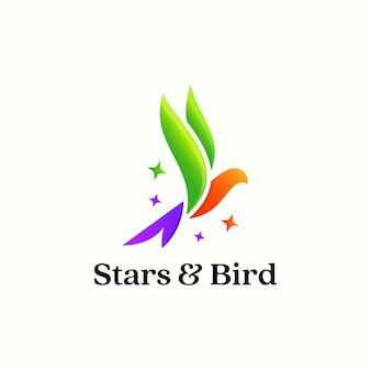 Bunter sauberer vogellogodesign