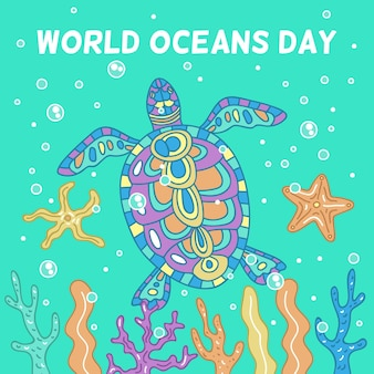 Bunter schildkrötenhand gezeichneter tag der ozeane