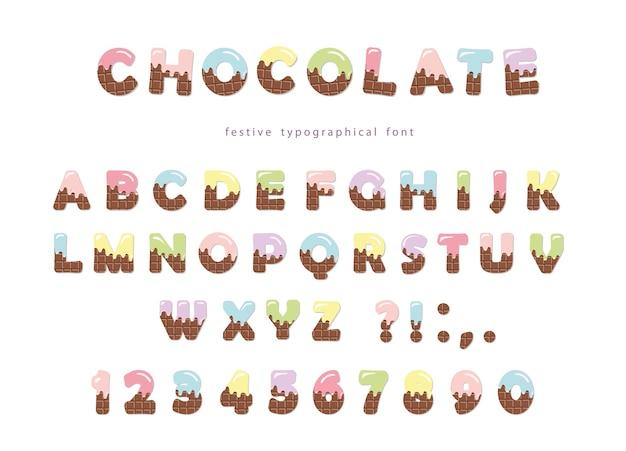 Bunter schokoladenschrifttyp