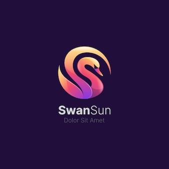 Bunter schwan mit glattem farbverlauf-logo