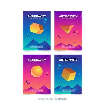 Bunter sich hin- und herbewegender broschürensatz des polygons 3d
