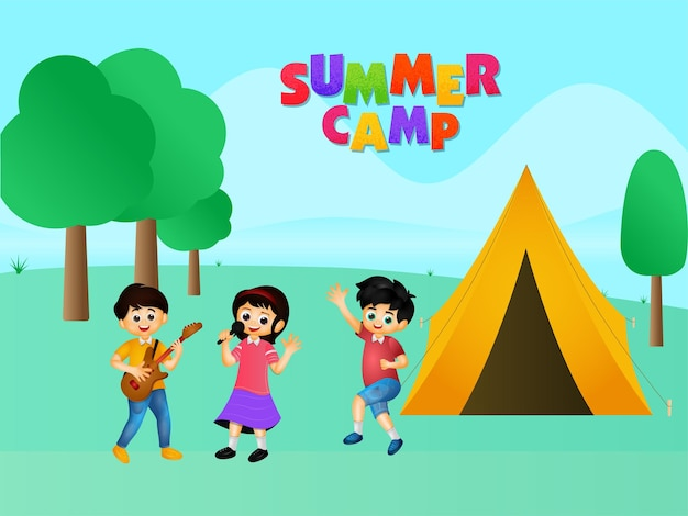 Bunter sommercamp-text mit karikatur-kindern, die und zelt-illustration auf grünem natur-hintergrund genießen.