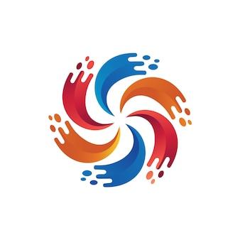 Bunter spritzen-flüssiger logo-vektor