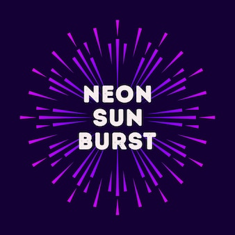 Bunter stil der illustration neon sunburst