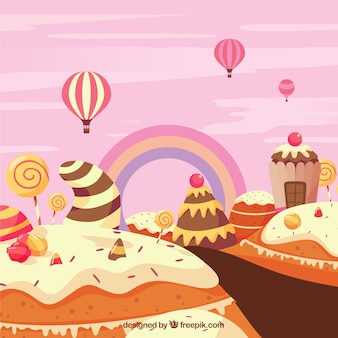 Bunter süßigkeitslandhintergrund