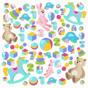 Bunter teddybär, schaukelpferd, rosa kaninchenspielwaren eingestellt