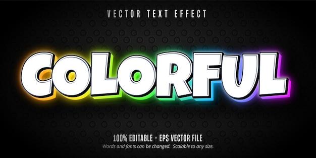 Bunter text, bearbeitbarer texteffekt im mehrfarbigen stil