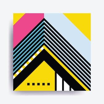 Bunter trend neo memphis geometrisches muster gegenübergestellt mit hellen, kräftigen blöcken, bunten elementen
