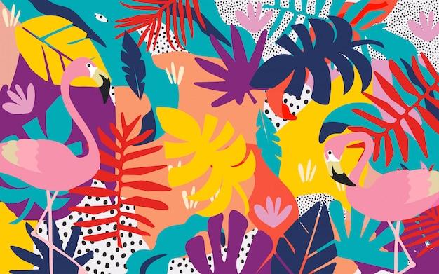 Bunter tropischer dschungel verlässt hintergrund mit flamingos