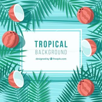Bunter tropischer hintergrund mit flachem design