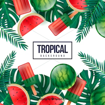Bunter tropischer hintergrund mit realistischem design