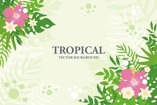 Bunter tropischer pflanzen-, blatt- und blumenhintergrund. horizontaler blumenrahmen mit platz für text