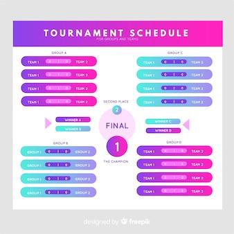 Bunter turnierplan mit flachem design