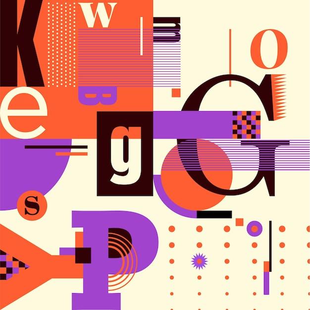 Bunter typografischer hintergrund