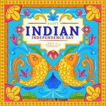Bunter unabhängigkeitstag von indien-hintergrund