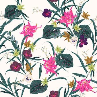 Bunter und frischer botanischer wald vector nahtloses blumenbetriebsmuster. exotisches blühen vieler art blumenillustration. design für stoff, web, mode und alle drucke