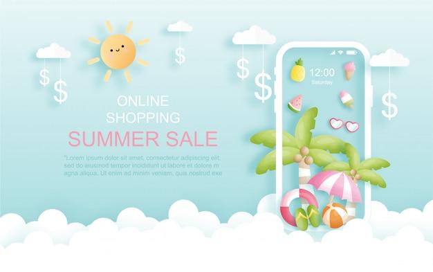 Bunter und lebendiger tropischer online-sommerverkaufshintergrund mit vogel, palmblättern und blumen. papierschnitt stil. illustration.