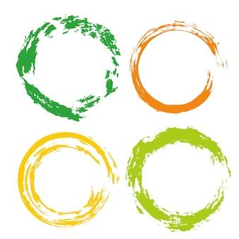 Bunter vektor stellte mit regenbogenkreisbürstenanschlägen für rahmen, ikonen, fahnengestaltungselemente ein.