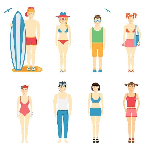 Bunter vektorsatz von jungen- und mädchencharakteren in der sommerkleidung und in den badeanzügen für den strand mit einem surfbrett und einem körperbrett