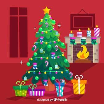 Bunter weihnachtsbaum im flachen design