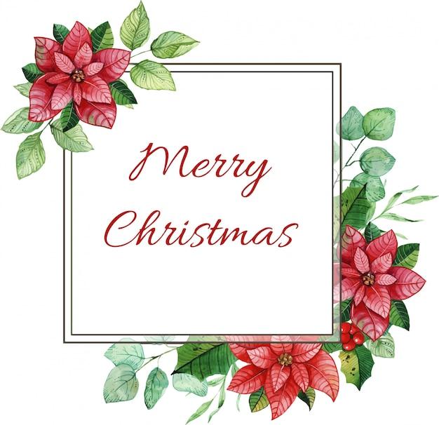 Bunter weihnachtsrahmen mit aquarellelementen. weihnachtsstern blüten, blätter, zapfen.
