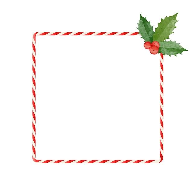Bunter weihnachtsrahmen mit zuckerstange und roten beeren