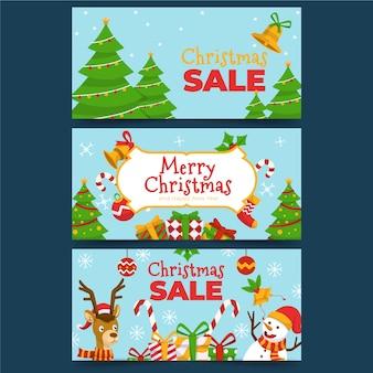 Bunter weihnachtsverkauf im flachen design