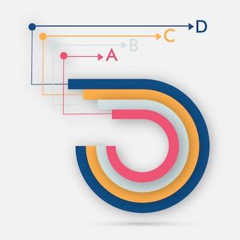 Bunter zeitplan infographics-plan mit vier (4) schritten.