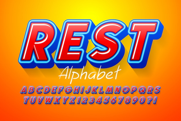 Buntes 3d-display-schriftdesign, alphabet, buchstaben