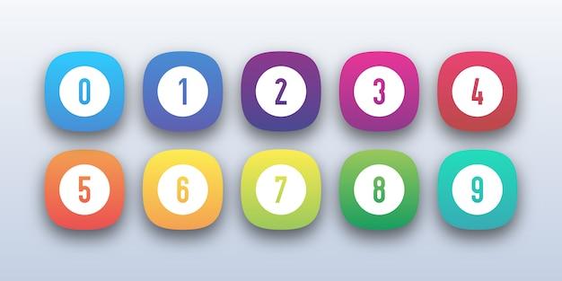 Buntes 3d-knopfsymbolsatz mit aufzählungszeichen