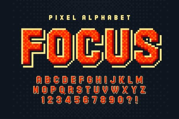 Buntes 8-bit-alphabet mit logo-design