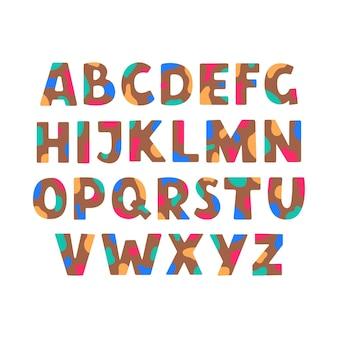 Buntes abstraktes abs-alphabet mit bunten flecken auf weißem hintergrund im flachen stil