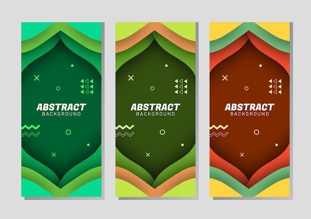 Buntes abstraktes, flüssiges geometrisches farbverlaufsset