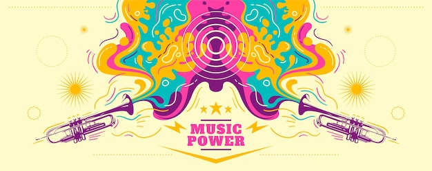Buntes abstraktes musikalisches banner