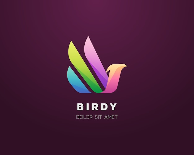 Buntes abstraktes vogellogo-symbol