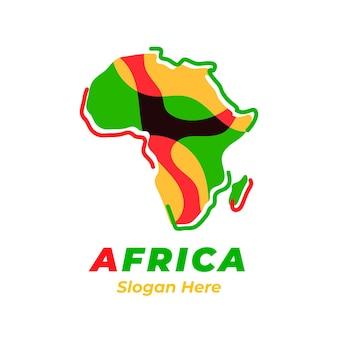 Buntes afrika-kartenlogo mit slogan-platzhalter