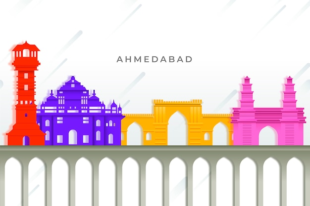 Buntes ahmedabad skyline-konzept