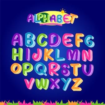Buntes alphabet eingestellt