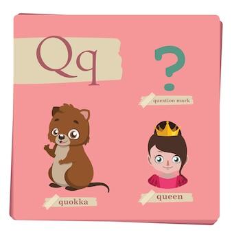 Buntes alphabet für kinder - buchstabe q
