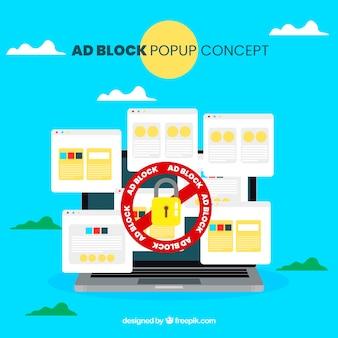 Buntes anzeigenblockkonzept mit flachem design